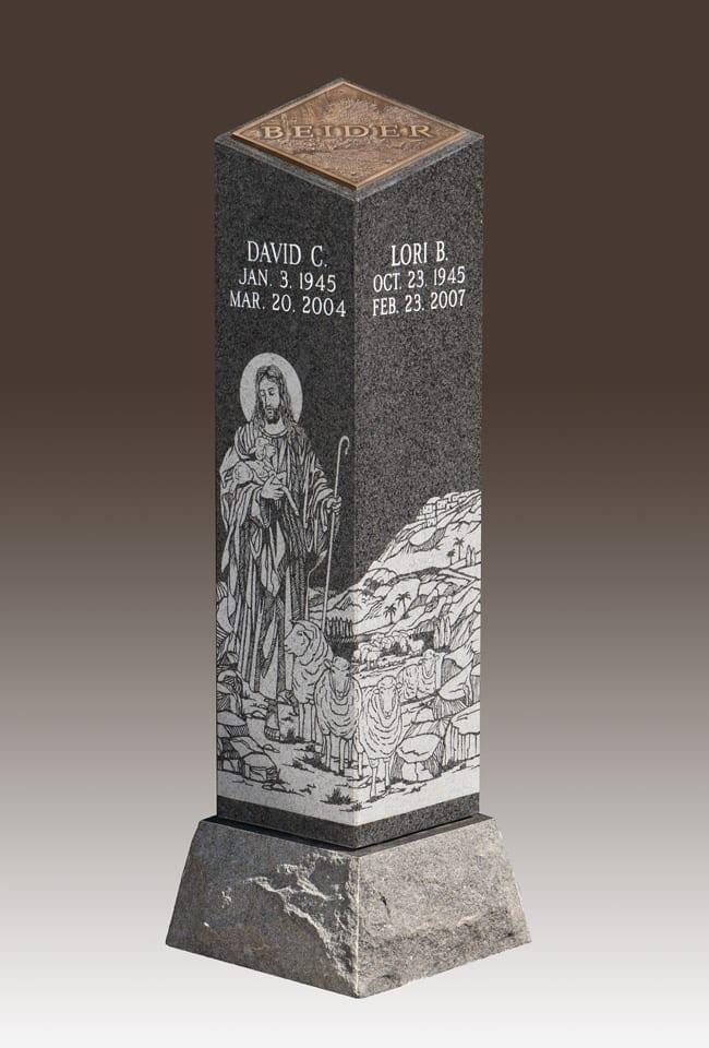 Carved Cremation Pillar