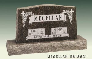 Megellan Floral Upright Gravestone