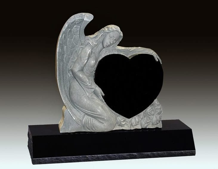 Angel Embrace Upright Gravestone