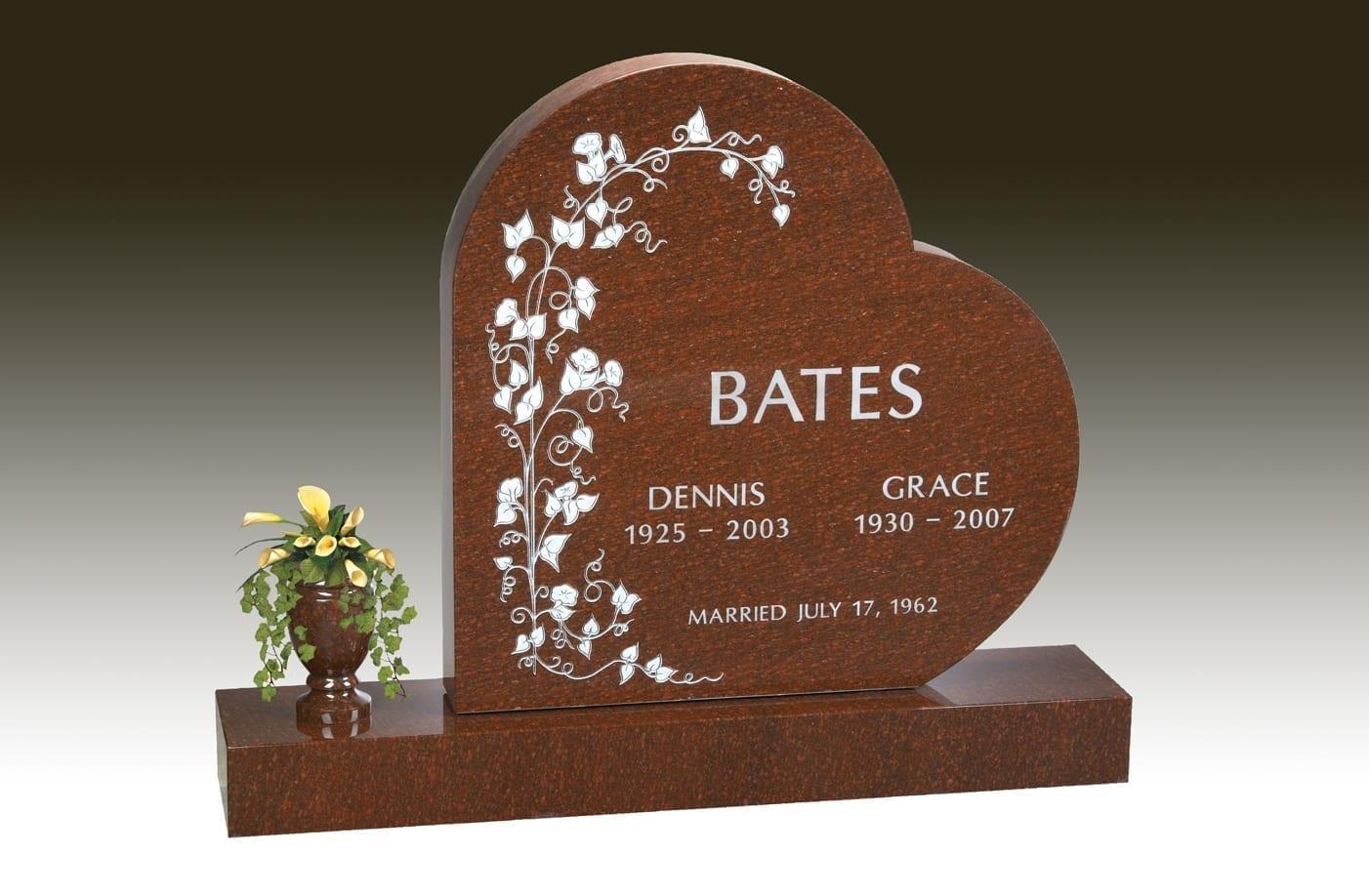 Bates Heart Upright Headstone