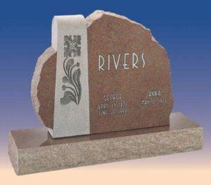 Rivers Asymmetrical Headstone