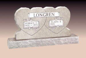 Longren Double Heart Upright Headstone
