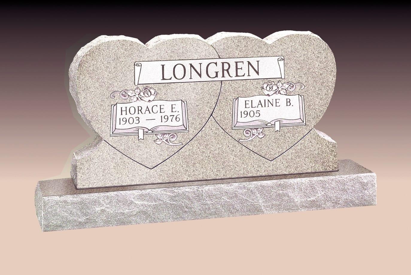 Longren Double Heart Upright Monuments